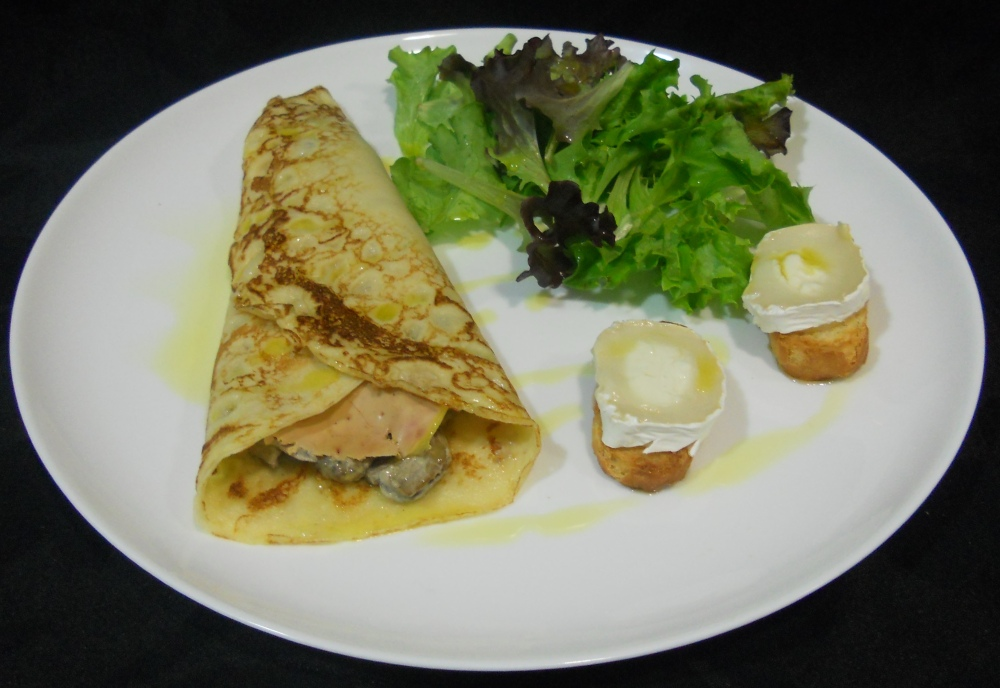 Crêpe de setas y foie